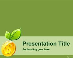 Green Money PowerPoint template is a new concept in green money templates that you can use to create green presentations about money and sustainability