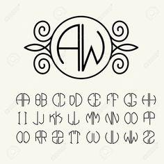 Set template letters to create monograms of two letters in scribed. Set template letters to create monograms of two letters in scribed in a circle in Art Nouveau style Stock Vector – 34556076 Art Deco Logo, Art Logo, Monogram Template, Monogram Design, Art Deco Monogram, Monogram Letters Font, Monogram Stencil, Monogram Maker, Diy Monogram