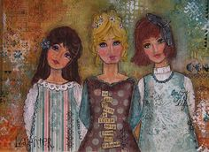 Three Friends mixed media collage   created by Debby Ebeling  inspired by Christy Tomlinson in her  SheArt2 workshop