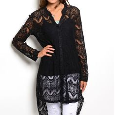 LONG BLACK HI-LOW LACE BUTTON UP TOP! Long line button up top features unlined lace material, long sleeves, printed collar, and high low hem. Stunning! Undershirt not included.  ⭐️Small - 2 ⭐️Medium - 4 ⭐️Large - 0 Please comment size needed below and I will make a listing just for you!  If you would like a bundle allow me to make one for you instead of using the automated feature  NO PAYPAL NO TRADES. Price firm unless bundled. Tops Button Down Shirts