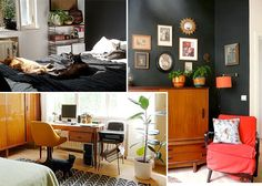 Get the Look Decor: Rockin' the Retro | The Etsy Blog - you wouldn't expect black to look so cozy.