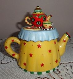 Mary Engelbreit Christmas Teapot Gingerbread Stars Mini Teapot | eBay