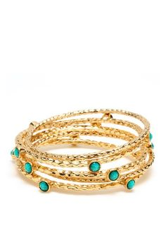 Turquoise and gold plated bangle set