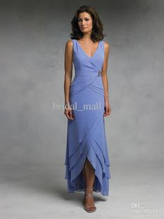 Wholesale Modest pleated deep V neck tea length short front blue special occassion mother of bride dresses 012, Free shipping, $92.96-126.56/Piece | DHgate