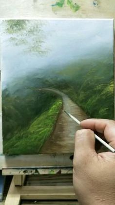 Canvas Painting Tutorials, Diy Canvas Art, Art Painting Gallery, Art Drawings Sketches Simple, Landscape Paintings, Landscape Drawings, Acrylic Art, Art Techniques, Landscape Drawing Tutorial
