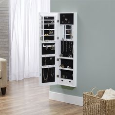 Details about Mirrored Jewelry Armoire Cabinet Storage Wall Mount