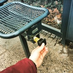 Sneaky little #geocache hide on an outdoors seat.