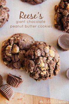 Reese's Giant Chocolate Peanut Butter Cookies #Food #Drink #Trusper #Tip