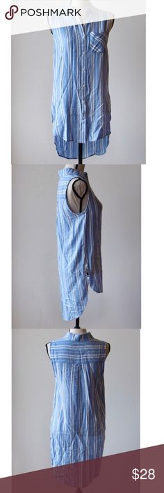 Blue striped pocketed tunic blouse, NWT Blue striped pocketed tunic blouse, NWT. ***** ⚡️⚡️⚡️✈️THIS ITEM SHIPS WITHIN 24 HOURS staccato Tops Tunics