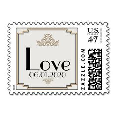 Art Deco Gold Posh Wedding Love Stamp