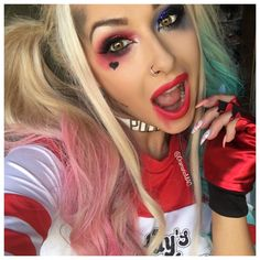 #harleyquinn is done! You guys were going crazy for this iv had more requests to do this than any other Halloween tutorial so I hope I did you all proud! For more pics check my Snapchat @dramaticmac is my username! This will be live on Wednesday ❤️ #halloween #snapchat #dramaticmac #halloweencostume #harleyquinncosplay #harleyquinnmakeup #youtube #irish Harley Quinn Halloween, Superhero Halloween, Creepy Halloween Costumes, Halloween Eye Makeup, Maquillaje Halloween, Halloween Eyes, Disney Halloween, Halloween Outfits, Makeup Tutorials