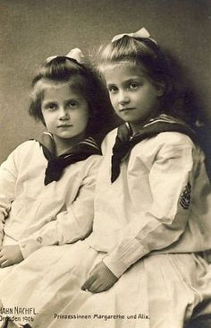 Princesses Margarethe and Alix in sailor blouses 1906