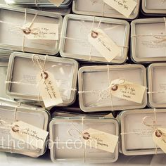 "So Cute! Recipe Card Favors: ""Brooke and Jonathan sent out a request for family recipes which were later handed out in small tins as wedding favors."""