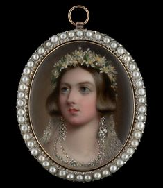 William Essex, Portrait enamel of Queen Victoria (1819-1901), wearing wedding attire, white lace veil, a wreath of orange blossom, turkish diamond earrings and necklace, 1841. Philip Mould and Company, Stand A3 © 2017 MASTERPIECE LONDON LTD