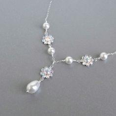 Rhinestone flower pearl drop bridal necklace