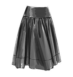I think Vogue Easy Options 8295 pattern will be perfect for my 'Pale blue registers' design printed on cotton sateen.  This option shows a flared skirt gathered onto a shaped, lined, deep waist yoke. #pattern #Vogue #V8295 #skirt