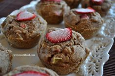 Gluten Free Strawberry Rhubarb Muffins: Made vegan, these muffins are #plantbased and #wholegrain. You can substitute the #sorghumflour and #oatflour for whole wheat if you choose.  #antiinflammatory and #norefinedsugar, best served hot, these also store well in the fridge #toothfood www.toothfood.com #rhubarb