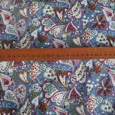 Cotton poplin from Croft Mill 'Love me do - Woodland Romance - Blue'