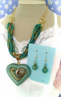 Green Pendant Necklace. Jade EarringsAgate by MyGrandmasHome