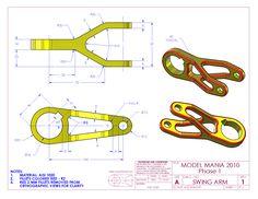 SOLIDWORKS World: Model Mania 2010 Mechatronics Engineering, Mechanical Engineering Design, Mechanical Design, Isometric Sketch, Autocad Isometric Drawing, Drawing Sheet, Cad Drawing, Interesting Drawings, Fusion Design