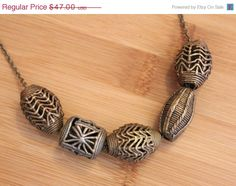 Summer Sale African Brass Bead Necklace Vintage by ColorSquare, $42.30