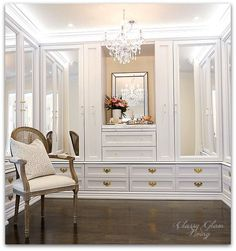 DIY Custom Closet Dressing Room | Crystal chandelier