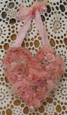 ribbon and roses heart by Gisele ... This is so pretty and has an old vintage look.