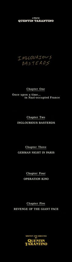 Inglourious Basterds's Segments . Directed by Quentin Tarantino.