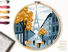Autumn Paris Modern Cross Stitch Pattern, nature, Landscape Cross stitch, The Eiffel Tower, easy cou Cross Stitching, Cross Stitch Embroidery, Embroidery Patterns, Hand Embroidery, Modern Cross Stitch Patterns, Cross Stitch Designs, Color Patterns, Print Patterns, Pattern Designs