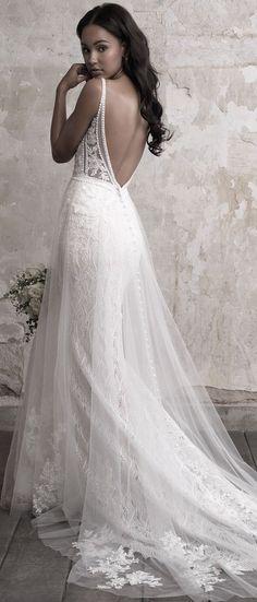 Madison James tulle overlaid a line wedding dress with low back #weddingdress #weddinggown #laceweddingdress #vintageweddingdress #madisonjamesweddingdress