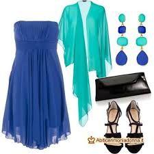 Risultati immagini per coprispalle abito cerimonia blu