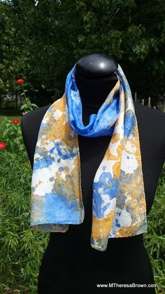 Beautifully patterned  silk scarf. Original art.