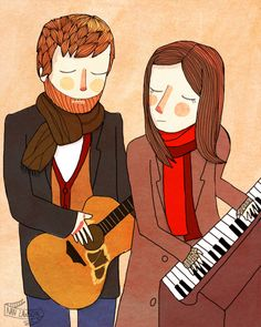 Falling Slowly - Take this sinking boat and point it home - Glen Hansard and Marketa Inglova fan art by Nan Lawson. Love this.