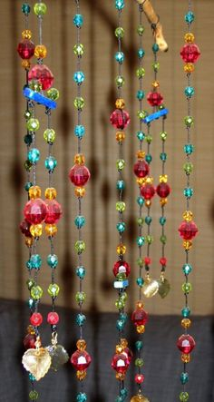 Billedresultat for how to make a baby mobile Bead Crafts, Arts And Crafts, Diy Crafts, Diy Hacks, Crystal Beads, Crystals, Glass Beads, Deco Boheme, Beaded Curtains
