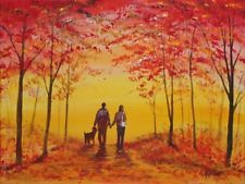 Original Oil Acrylic Painting Canvas Romantic Couple Dog Woods AutumnJim Gillon