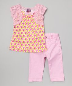 Look at this #zulilyfind! Coney Island Kids Pink Floral Bow Tunic & Pants - Infant, Toddler & Girls by Coney Island Kids #zulilyfinds