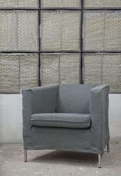 Bemz cover for Klappsta armchair from IKEA, Loose Fit - Urban in Rosendal Pure Washed Linen Medium Grey. www.bemz.com