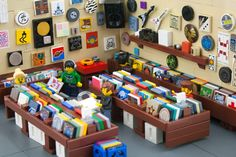 A miniature record store made entirely of LEGO bricks by Ryan Howerter (AKA eldeeem). This is so damned adorable it's adorable.