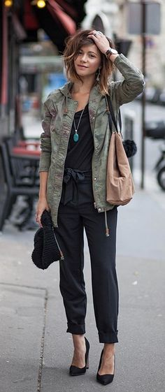 Black jumpsuit with camo jacket