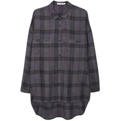 Mango Chest Pocket Checked Shirt, Grey ($29) ❤ liked on Polyvore featuring tops, shirts, checked shirt, checkered shirt, extra long sleeve shirts, button shirt and rayon shirts