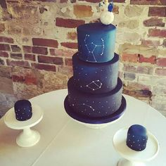 A constellation wedding cake complete with moon and Lego cake toppers. Congratulations to Jo and James on your wedding day Wedding Cake Designs, Wedding Cake Toppers, Wedding Cakes, Wedding Rings, Wedding Ideas, Wedding Themes, Wedding Inspiration, Galaxy Wedding, Starry Night Wedding