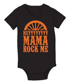'Mama Rock Me' Bodysuit WWW.INFANTEENIEBEENIE.COM~  THE ONLY HAT GUARANTEED TO FIT AND STAY SNUG TO ALL NEWBORNS.  2014 PRODUCT OF YEAR AWARD & SEEN IN GLAMOUR MAG