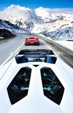 Lamborghini Aventador Roadster following a Lamborghini Countach