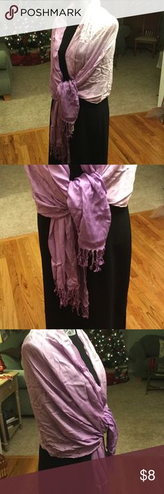 """THREE VARIEGATED SHADES OF PURPLE FRINGE SHAWL This shawl is 74"""" long and 28 wide. MW COTTON nice fringe never worn. unknown  Accessories Scarves & Wraps"""