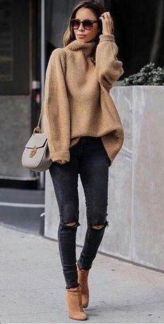 #winter #outfits  brown knit turtle-neck sweater, distressed black jeans and pair of boots outfit