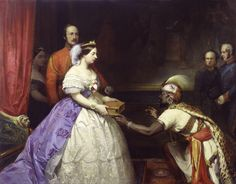 Queen Victoria receiving a gift from a foreign emisary.