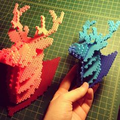 Deer hama perler beads by mizgvus 3d Perler Bead, Diy Perler Beads, Pearler Beads, Melty Bead Patterns, Hama Beads Patterns, Beading Patterns, 8bit Art, 3d Figures, Iron Beads
