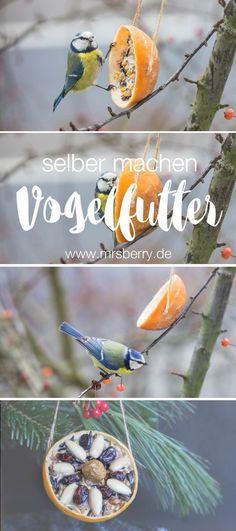 MrsBerry.de DIY | Vogelfutter bzw. Meisenknödel selber machen. | Das Nahrungsangebot für Wildvögel wird gerade in Großstädten immer geringer, deshalb zeige ich euch heute ein paar tolle Ideen wie ihr Vogelfutter selber machen und den Piepmätzen etwas Gutes tun könnt. Wie gut die selbst gemachten Vogelfutterringe ankommen, seht ihr oben auf den Bilder :)