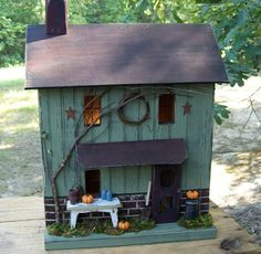 Primitive Birdhouse Lighted Farmhouse Fall by GooseberryCreek