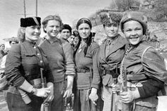 """""""Female partisans, who fought for the liberation of Crimea, pose near the village of Simeiz in 1944."""""""